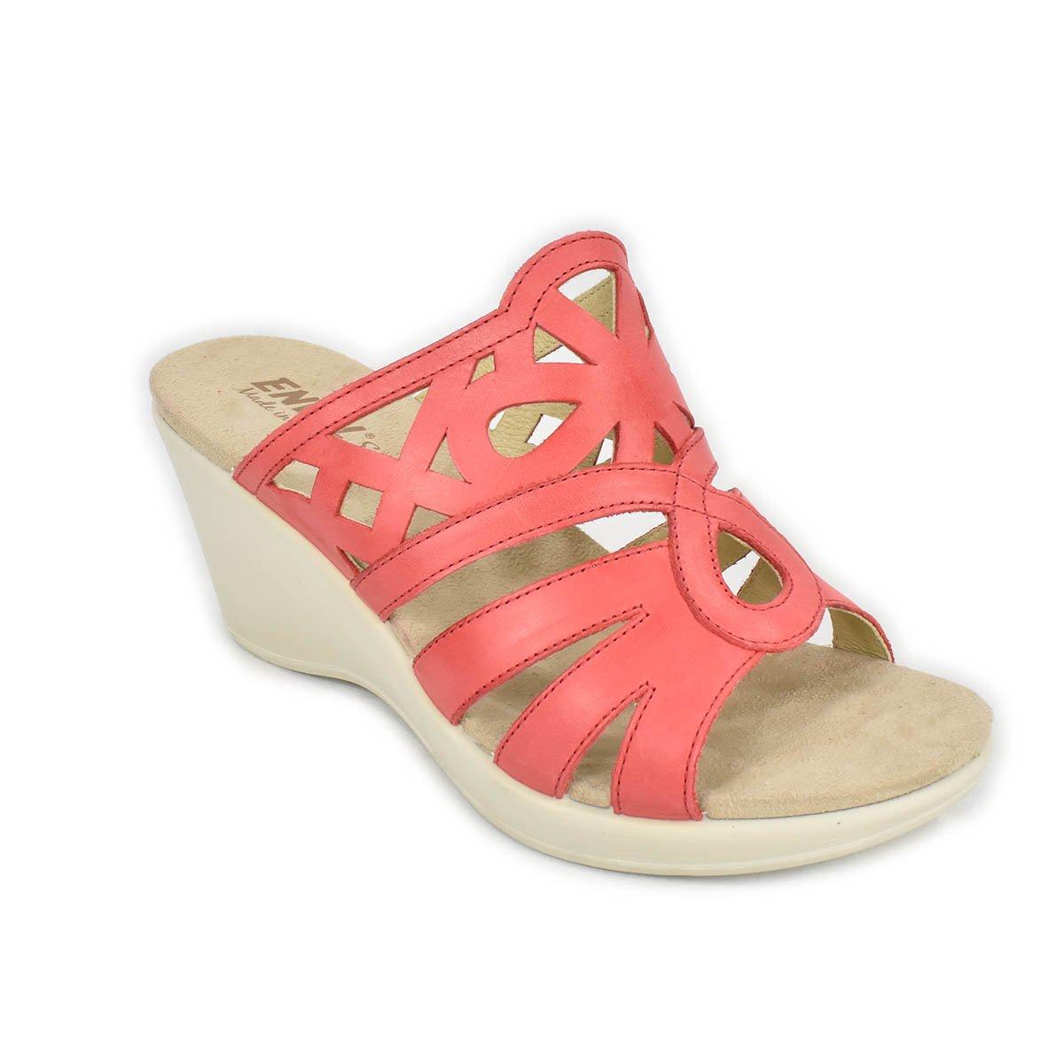 Ciabatte con zeppa in pelle rosso corallo - Enval Soft 79905