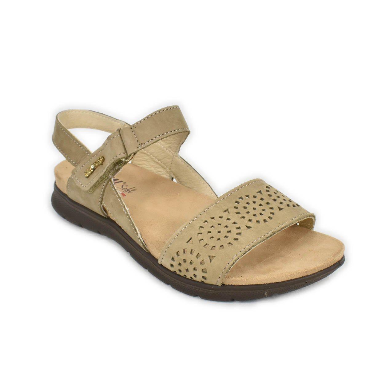 Sandalo basso marrone tortora con strappo - Enval Soft 79622
