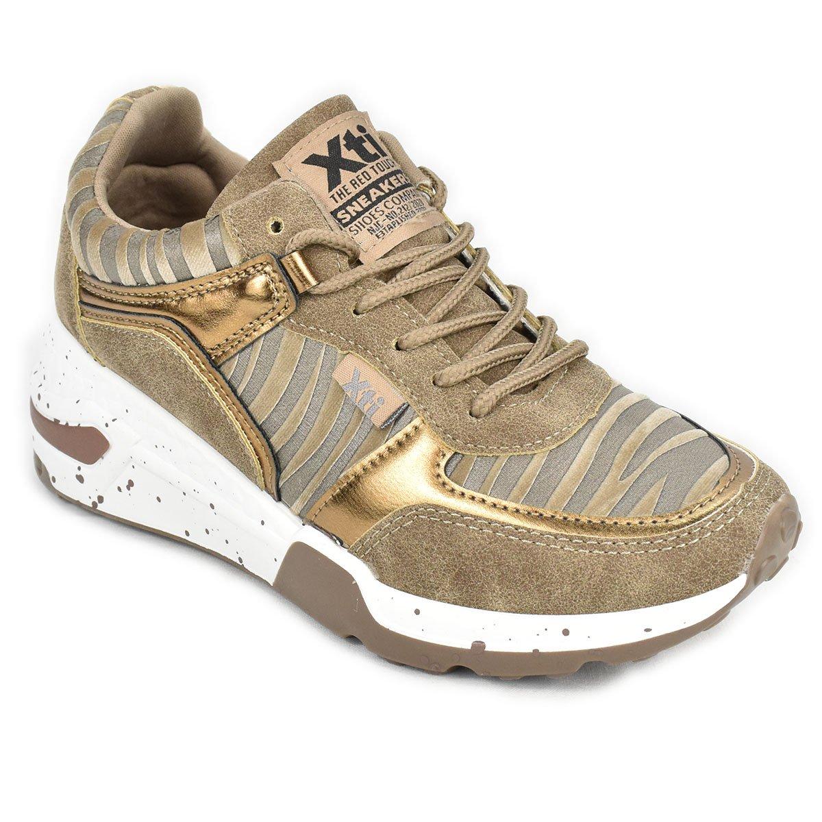Sneakers tortora e oro con trama zebrata e zeppa - XTI 44599