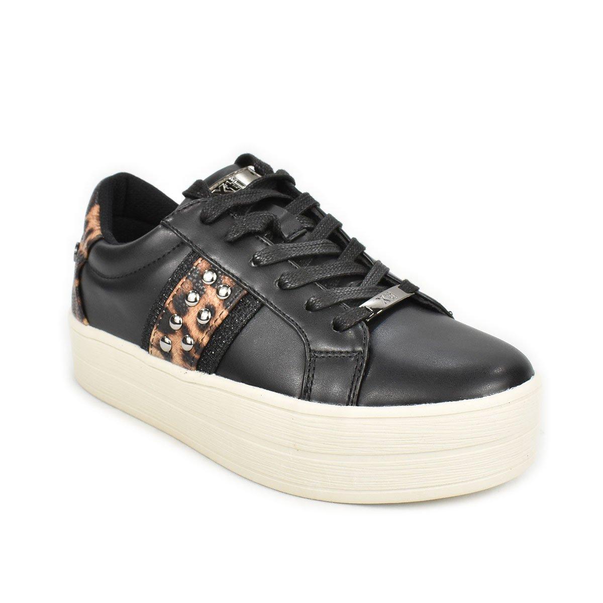 Sneakers nera con dettagli leopardati e suola a zeppa - XTI 44688