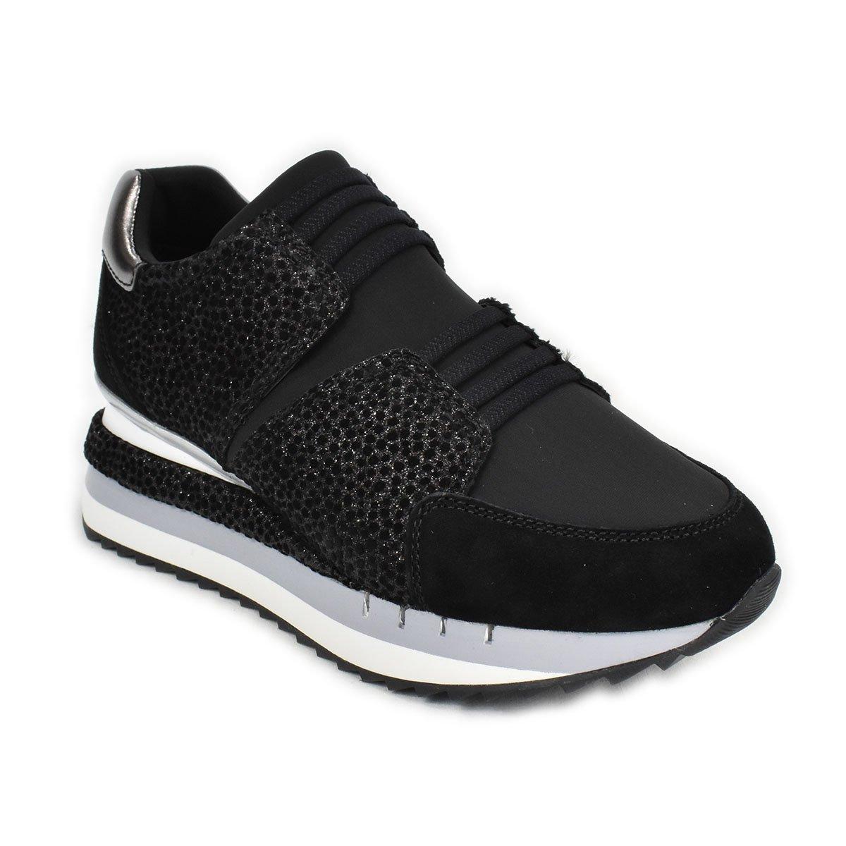 Sneakers slipon nera con trama scamosciata a pois ed effetto glitterato - CafèNoir FDN928