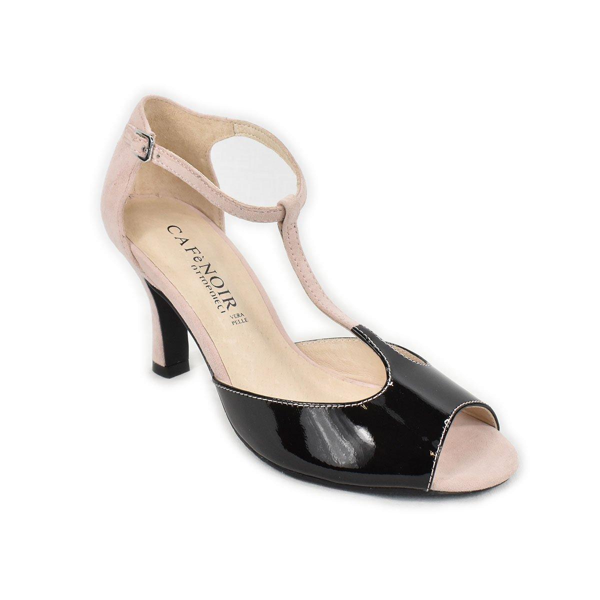 Sandali rosa e nero in pelle e scamosciato - CafèNoir UME301